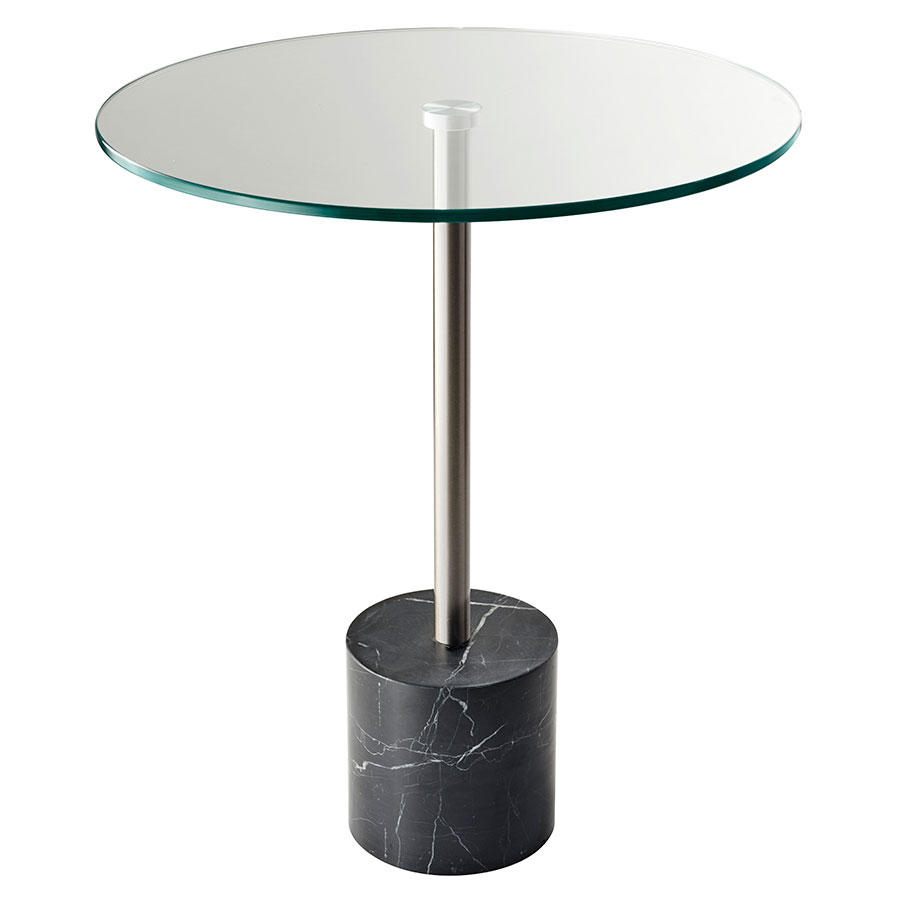 Ballard Black Marble Contemporary Side Table