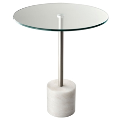 Ballard White Marble Contemporary Side Table