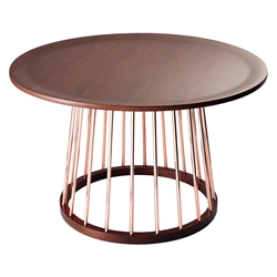 Baraka Contemporary Walnut + Copper Coffee Table