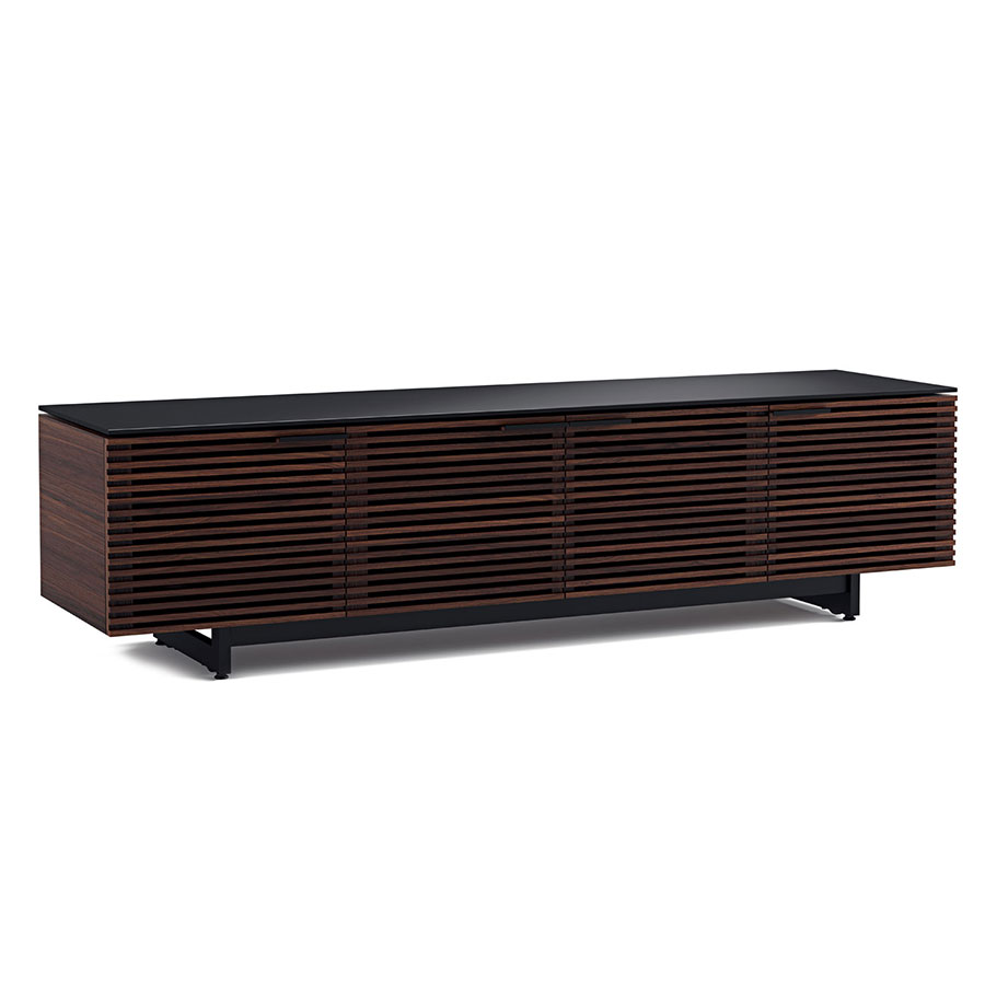 corridor modern chocolate low tv stand by bdi eurway. Black Bedroom Furniture Sets. Home Design Ideas