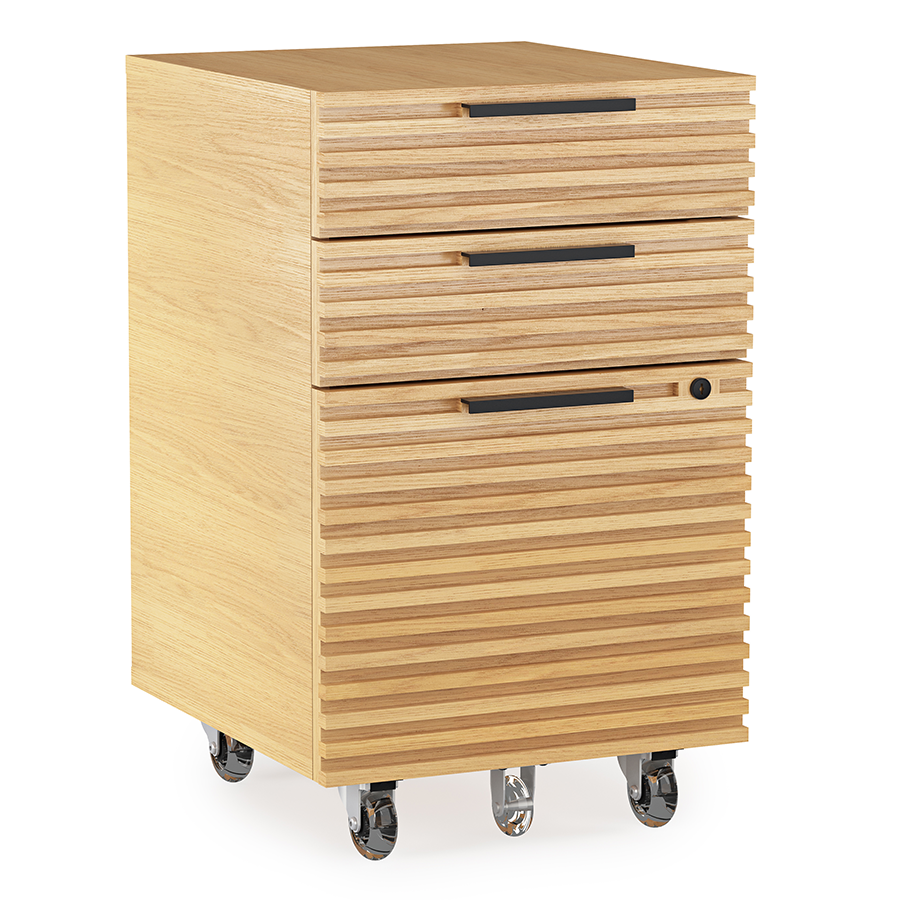 BDI Corridor White Oak Contemporary Mobile File Pedestal