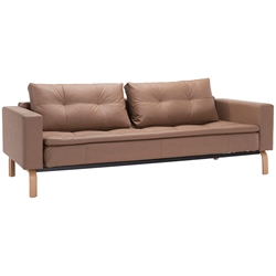Dual Sleeper Sofa in Brown with Wood Legs by Innovation