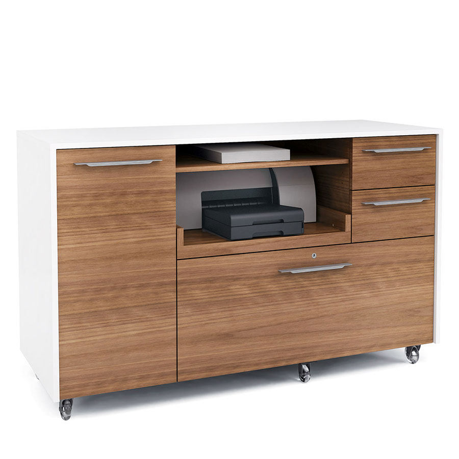 Format Contemporary Credenza in Walnut & White