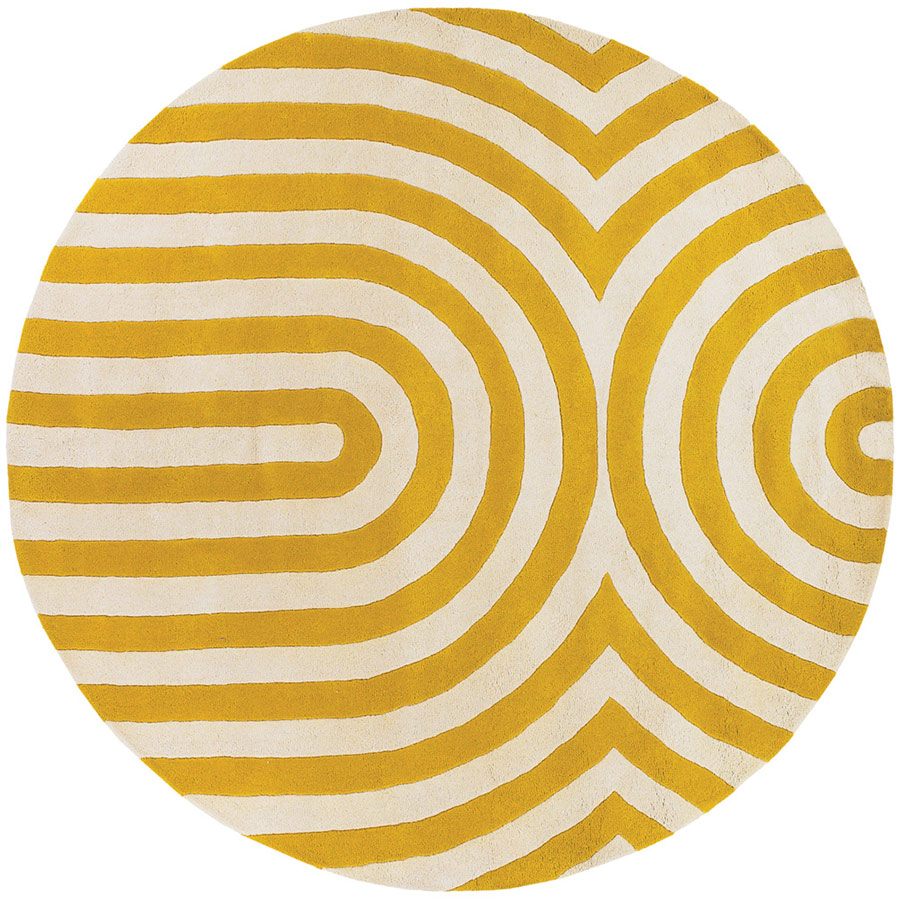 Great Geometric Round Rug In Yellow