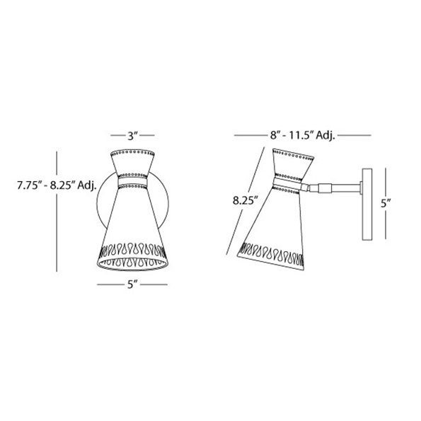 Havana Contemporary Wall Sconce - Drawing