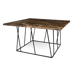Helix Brown Marble + Black Metal Square Modern Coffee Table