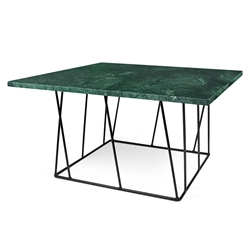 Helix Green Marble + Black Metal Square Modern Coffee Table