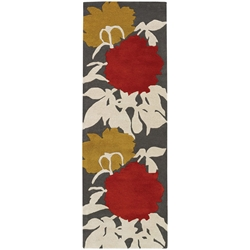 Peony Runner Rug in Red