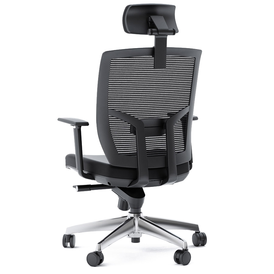 bdi tc223 black leather office chair back view - Gray Leather Office Chair