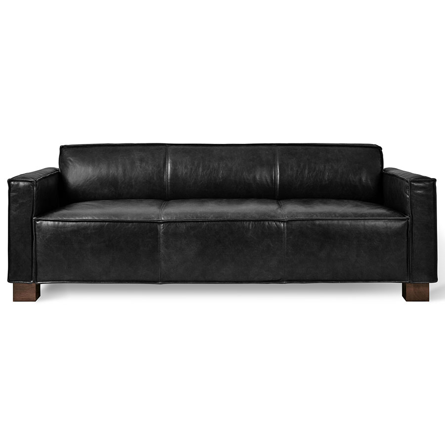 Gus* Modern Cabot Saddle Black Leather Sofa | Eurway