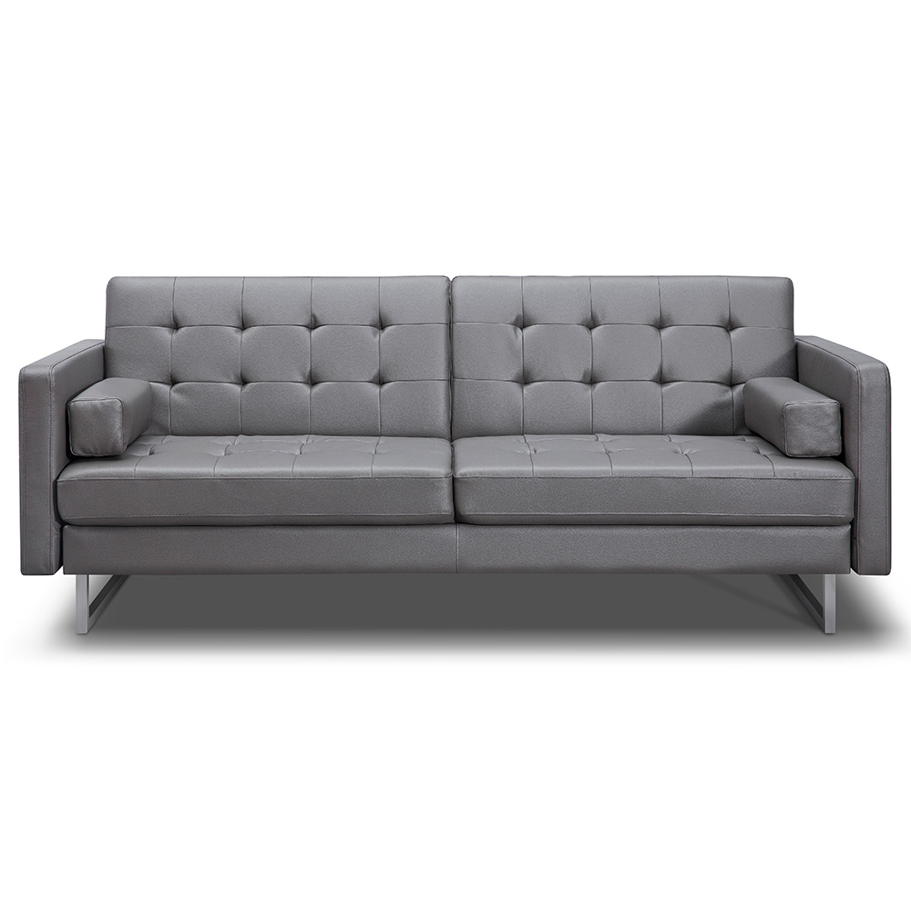 - Giovanni Sofa Bed Gray Faux Leather Collectic Home