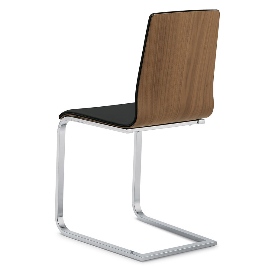 Superb Jasmine Chrome Side Chair Walnut Black Set Of 2 Caraccident5 Cool Chair Designs And Ideas Caraccident5Info