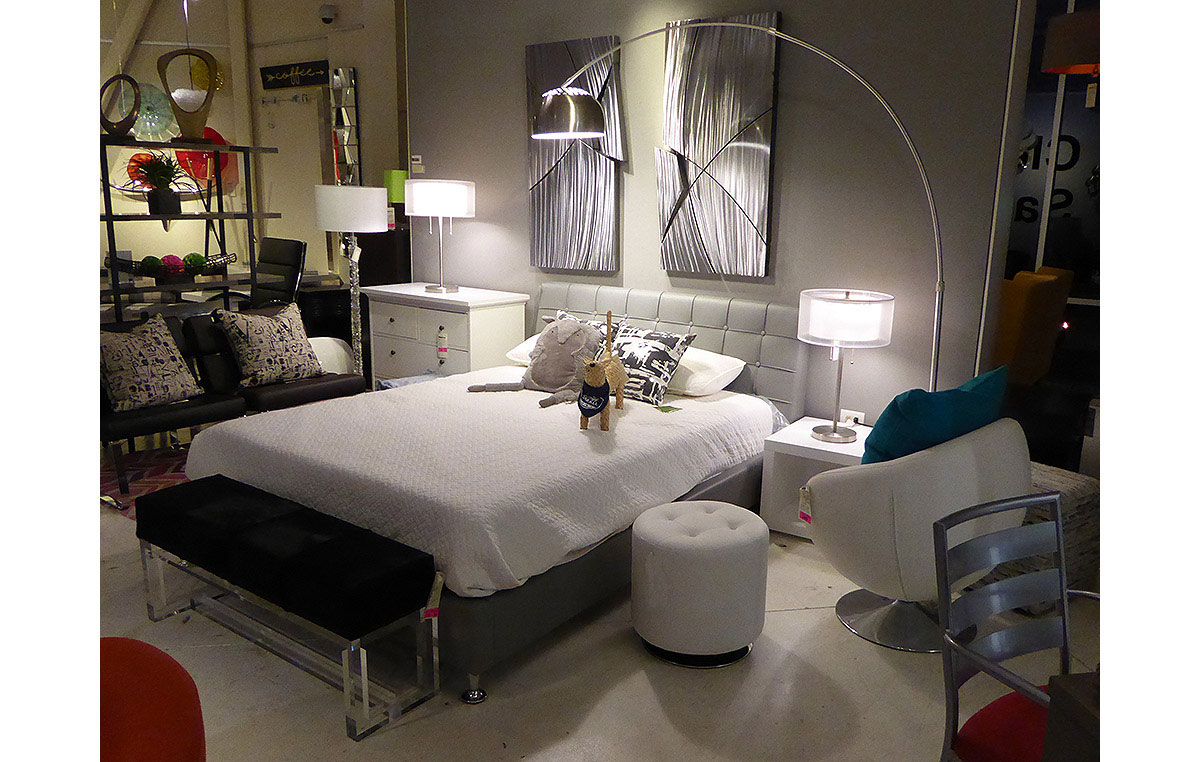 Contemporary Bedroom Vignette from our Collectic Home Showroom - 2785 Bee Cave Rd #325 Rollingwood, TX