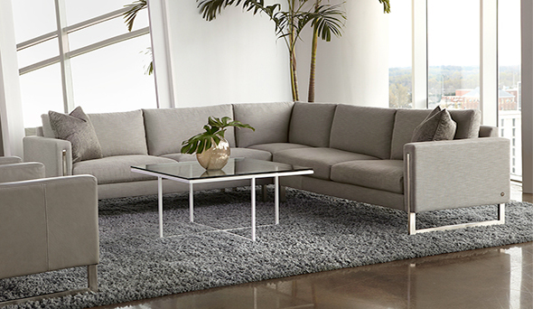 American Leather Savino Gray Sectional