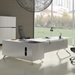 400 Collection White Desk with Right Credenza - Room