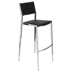 Aaron Black Naugahyde Contemporary Bar Stool