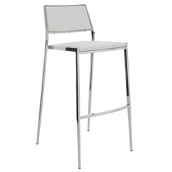 Aaron Naugahyde White Contemporary Bar Stool