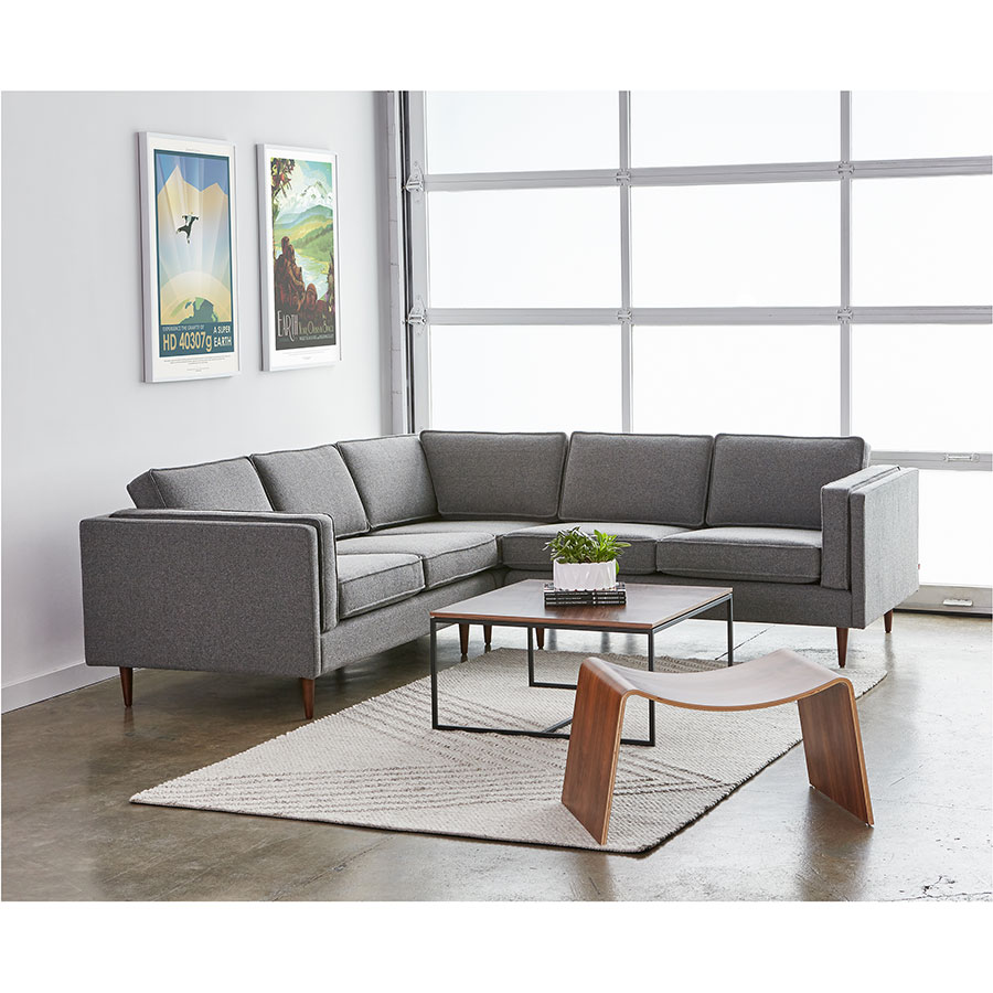 ... Gus* Modern Adelaide Contemporary Sectional Sofa In Varsity Charcoal  Fabric Upholstery ...