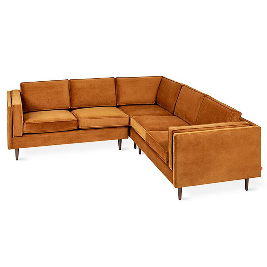 Adelaide Bi Sectional Contemporary Sofa In Velvet Rust By Gus* Modern