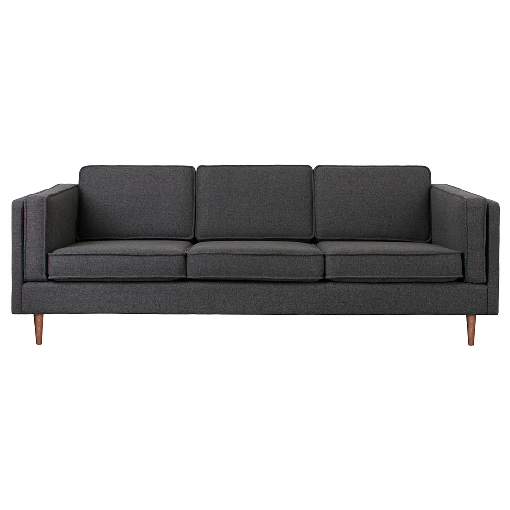 Gus* Modern Adelaide Sofa in Andorra Pewter Fabric Upholstery with Walnut Wood Legs
