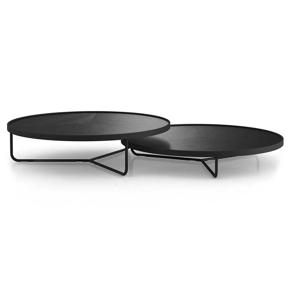 Modloft Adelphi Modern Nesting Coffee Tables in Black Crocco Reclaimed Leather
