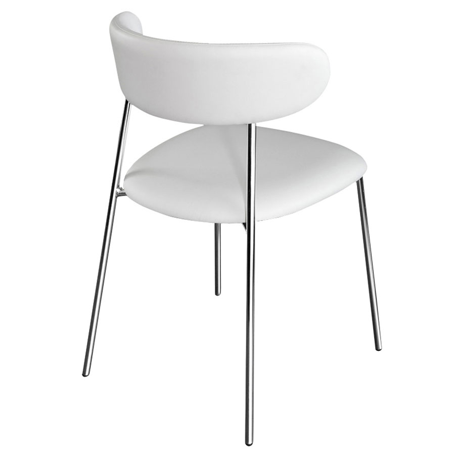 Ahab Chrome + White Modern Dining Chair