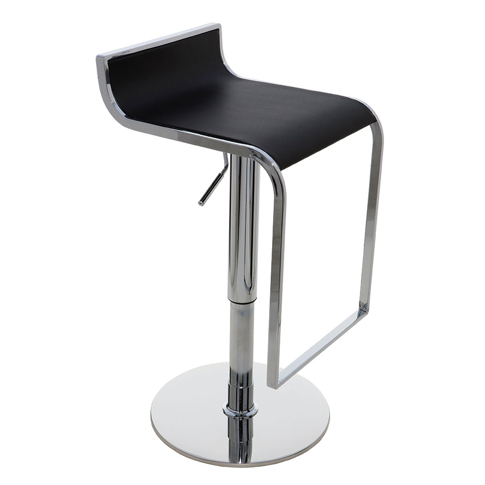 Alexander Black Leather + Chromed Steel Modern Adjustable Bar + Counter Stool