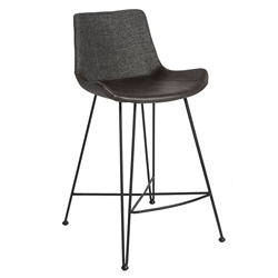 Euro Style Alisa Dark Gray Fabric / Leatherette Modern Counter Stool