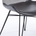 Amberglen Gray Fabric / Leatherette + Black Powder Coated Steel Modern Dining Side Chair - Front Corner Detail