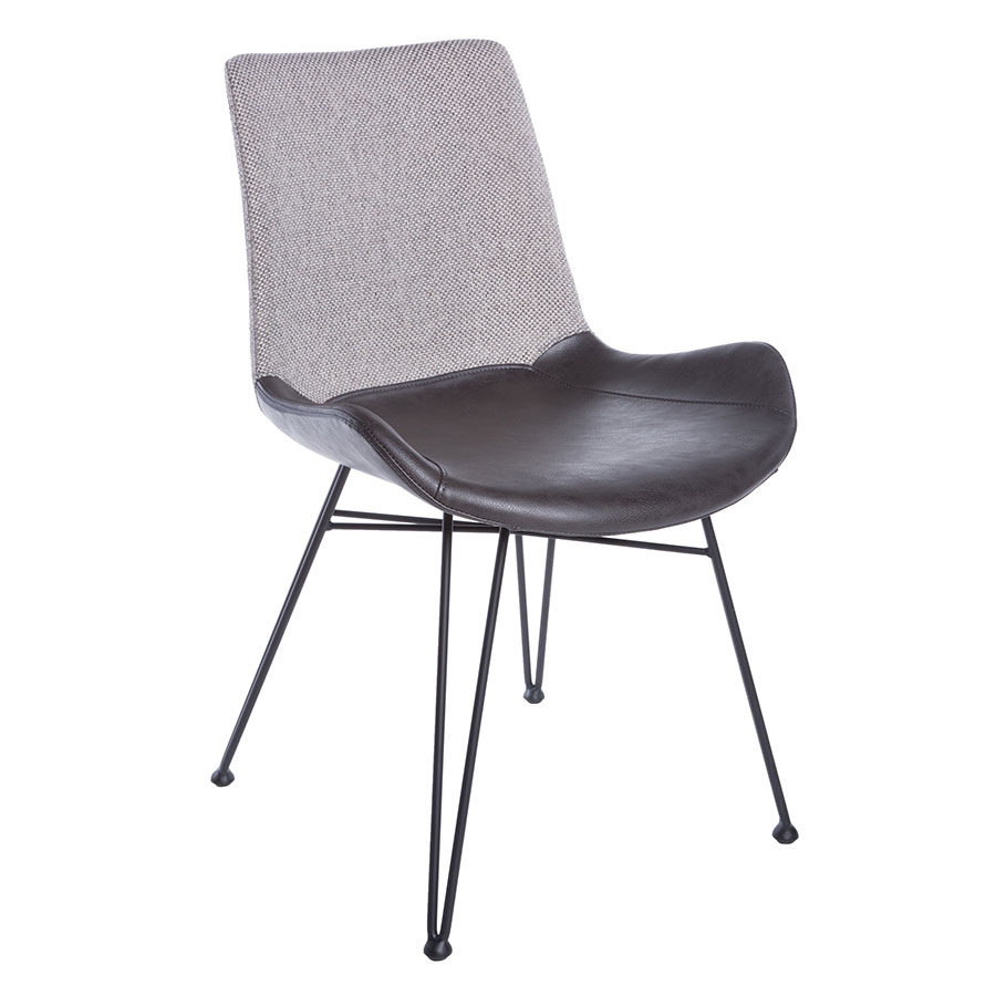Amberglen Gray Fabric / Leatherette + Black Powder Coated Steel Modern Dining Side Chair