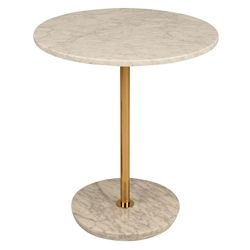 Aida White Round Marble Top + Gold Steel Stem Modern Side Table