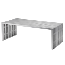Amici Brushed Steel Rectangle Modern Coffee Table by Nuevo
