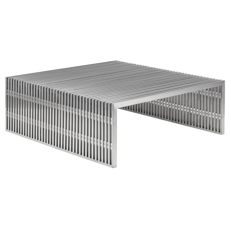 Amici Brushed Steel Square Modern Coffee Table by Nuevo
