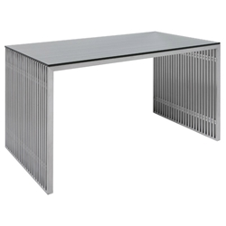 Amici Brushed Steel + Clear Tempered Glass Modern Desk by Nuevo