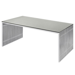 Amici Brushed Steel + Clear Tempered Glass Modern Dining Table by Nuevo