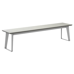 Modloft Amsterdam Outdoor White Sand Concrete Top + White Steel Base Modern Bench