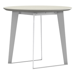 Modloft Amsterdam White Sand Concrete + White Steel Modern Cafe Dining Table Outdoor