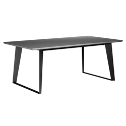 Modloft Amsterdam Gray Concrete Modern Dining Table with Black Steel Base