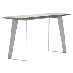 Modloft Amsterdam Outdoor Modern White Sand Concrete Console Table with White Steel Base