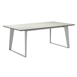Modloft Amsterdam Outdoor White Sand Concrete Modern Dining Table with White Steel Base