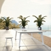 Modloft Black Amsterdam Modern Outdoor Ping Pong Table in White Sand Concrete With White Steel Base - Lifestyle