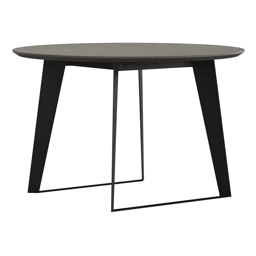 Modloft Amsterdam Round Outdoor Modern Dining Table in Gray Concrete with Black Steel Base