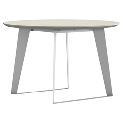Modloft Amsterdam Round Modern Dining Table in White Sand Concrete with White Steel Base