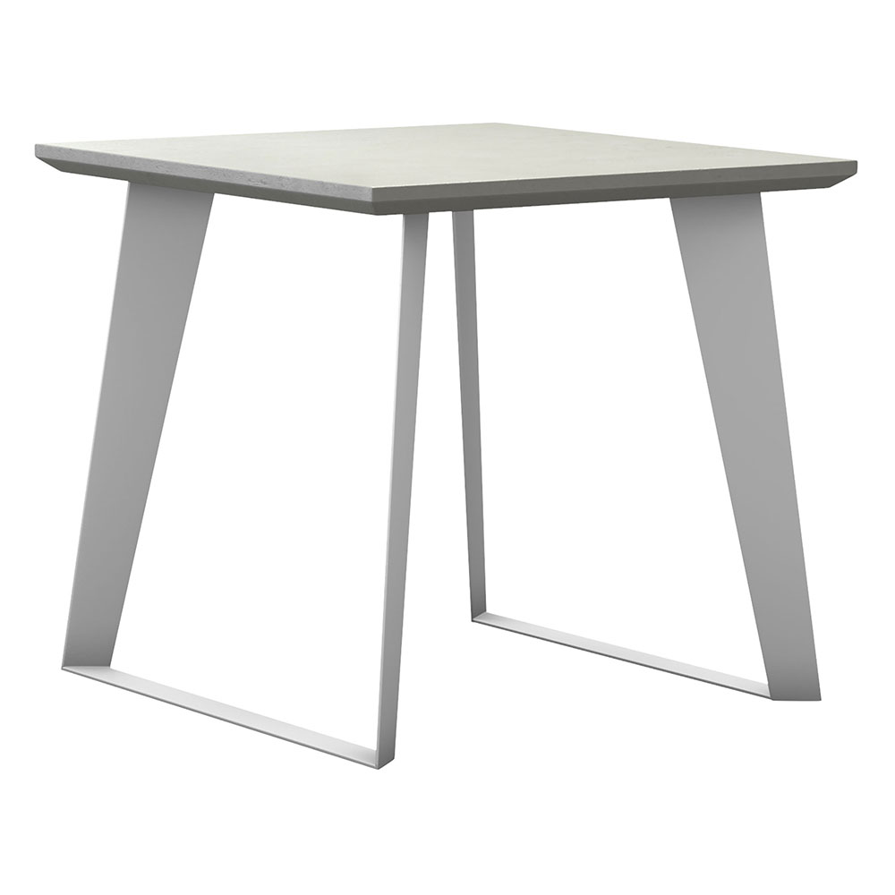 Modloft Amsterdam White Sand Concrete Outdoor Modern Side Table with White Steel Base
