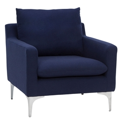 Andre Navy Blue Fabric + Brushed Steel Modern Lounge Arm Chair