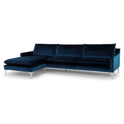 Anders Midnight Blue Fabric + Brushed Stainless Steel Modern Sectional Sofa