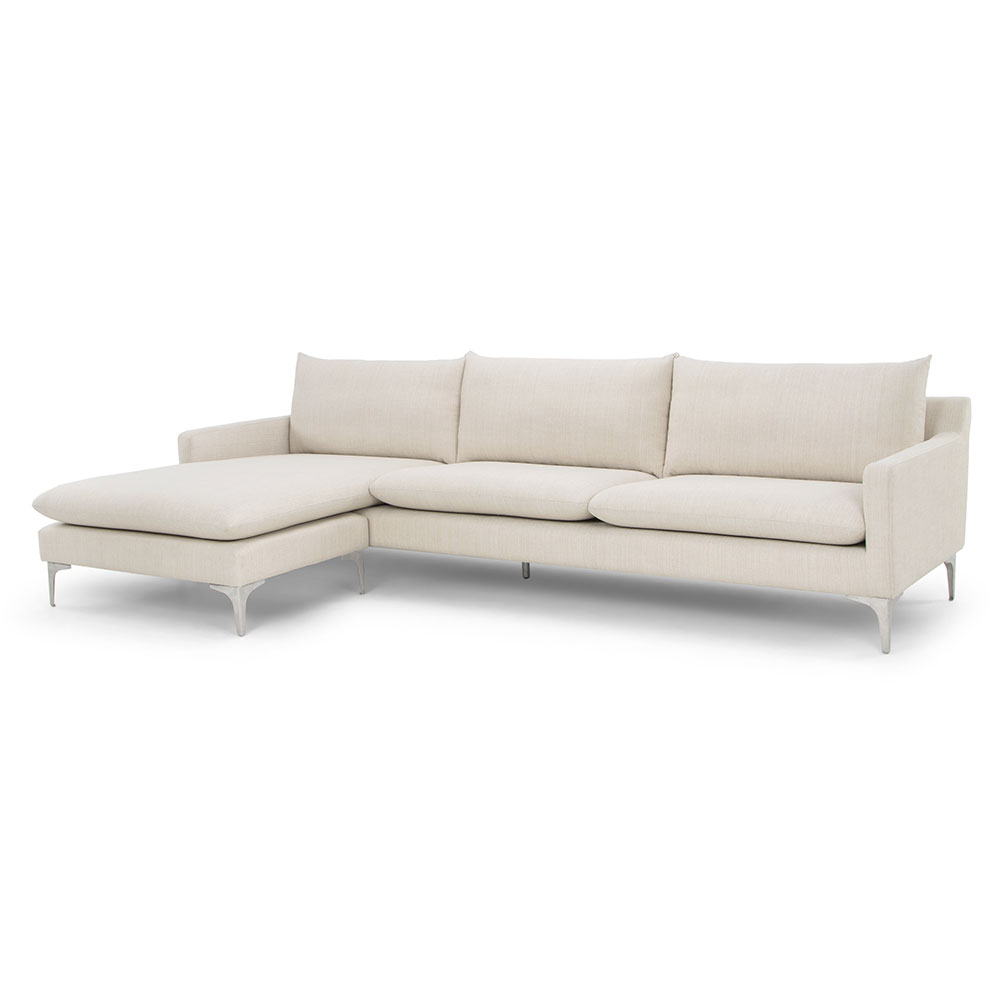 Andre Sand Fabric Upholstery + Brushed Stainless Steel Modern Sectional Sofa