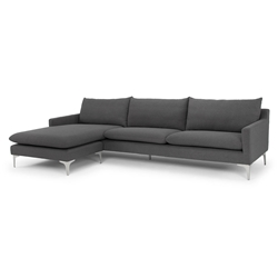 Andre Slate Gray Fabric Upholstery + Brushed Steel Modern Sectional Sofa