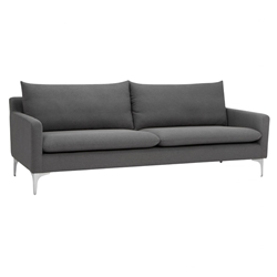 Anders Slate Gray Fabric + Brushed Stainless Steel Modern Sofa