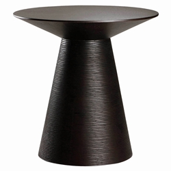 Anika Black Wood Round Modern End Table